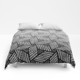 Japanese style wood carving pattern in gray Comforters