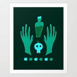 Zombie witch, apple and potion Art Print