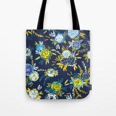 Flower Garden in Navy Neon Tote Bag