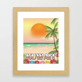 Kuwait beach Travel poster Framed Art Print