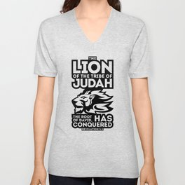 The Lion of the tribe of Judah, the Root of David, has triumphed. Unisex V-Neck