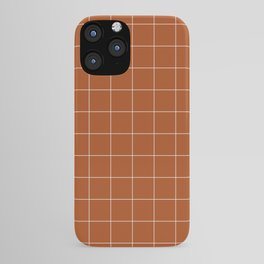 Windowpane Check Grid (white/burnt orange) iPhone Case