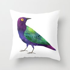 Purple Glossy Starling Throw Pillow