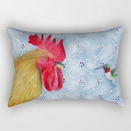Humm and Peck Rooster Hummingbird Painting Rectangular Pillow