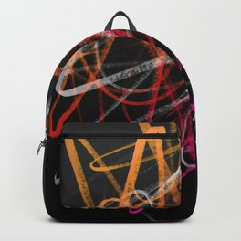 Expressive Red Orange and Magenta Lines Abstract - Handstyles Backpack