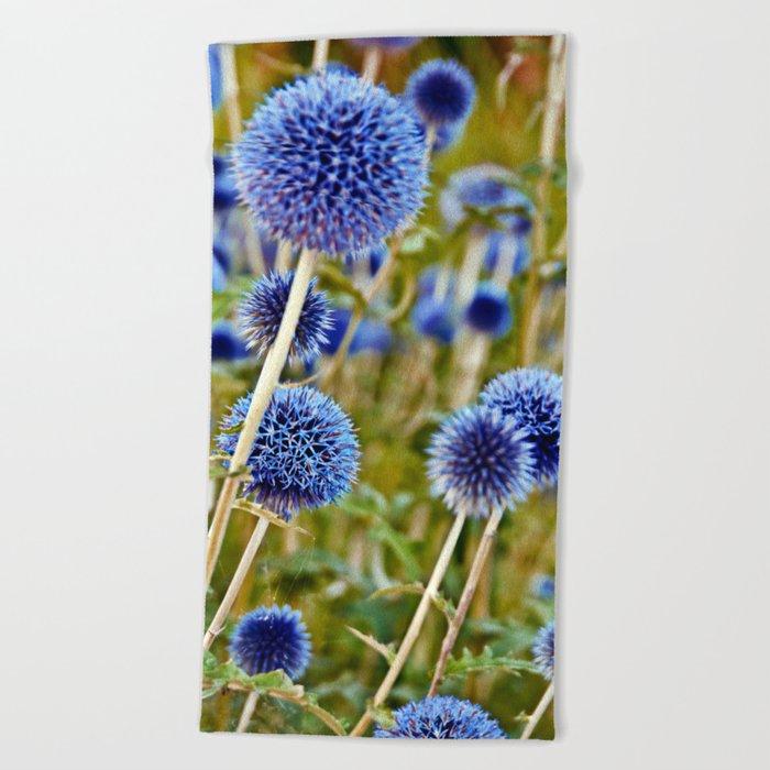 BLUE WILD THISTLE Beach Towel