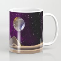 watchmen Mugs featuring Purple light swirls round and round thinking thoughts that make no sound by Donuts