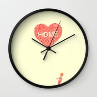 wallet Wall Clocks featuring Home:家 by aPersonalidea