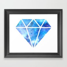 Blue Nebula Diamond Framed Art Print