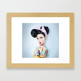 Pinup cool woman Framed Art Print