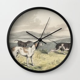 Vintage Illustration of Pointer Dogs (1846) Wall Clock
