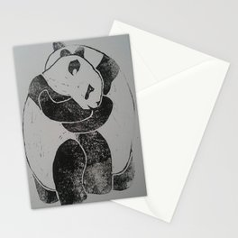 Panda Hugs Lino Print Stationery Cards