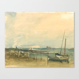 """J.M.W. Turner """"Coast Scene with White Cliffs and Boats on Shore"""" Canvas Print"""