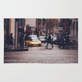 ITALIAN - YELLOW - MAN - STREETS - SUPERCAR - PHOTOGRAPHY Rug