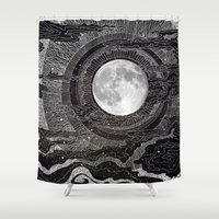 bunny Shower Curtains featuring Moon Glow by brenda erickson