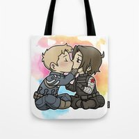 stucky Tote Bags featuring Stucky chibi kiss by DeanDraws