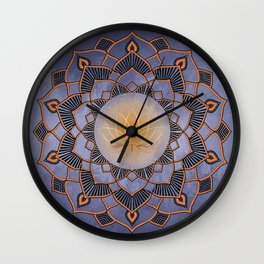Orange Lotus Flower Mandala On A Textured Blue Background Wall Clock