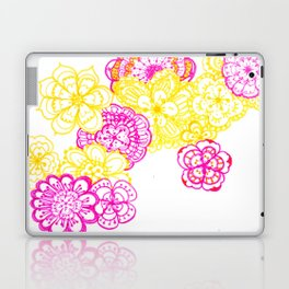 28. Colourful Pink and Yellow Flower in Henna World Laptop & iPad Skin