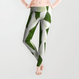 Green White Kaleidoscope Art 3 Leggings