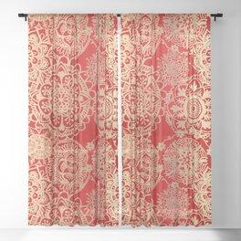 Red and Gold Mandala Pattern Sheer Curtain