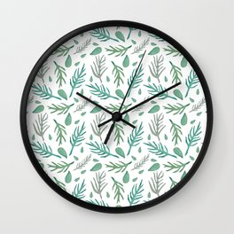 Baesic Watercolor Leaves Wall Clock