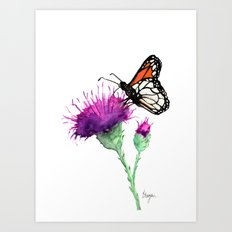 Monarch and Milk Thistle Art Print