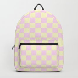 Cream Yellow and Pink Lace Checkerboard Backpack