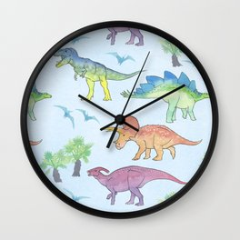 DINOSAURS!, painting by Frank-Joseph Wall Clock