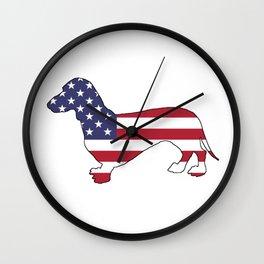 """Dachshund """"American Flag"""" Wall Clock"""