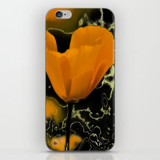 Orange poppy with abstract iPhone & iPod Skin