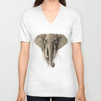 elephant V-neck T-shirts featuring Elephant by Rafapasta