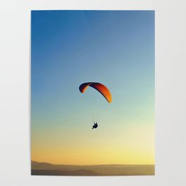 two paragliders in the sky Poster
