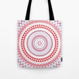 Soft Coral Blue Mandala Design Tote Bag