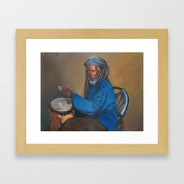 Street Vendor Playing On A Drum Framed Art Print