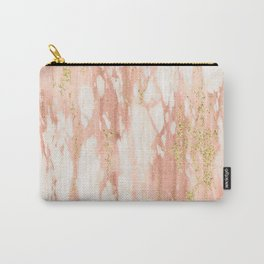 Rose Gold Marble - Rose Gold Yellow Gold Shimmery Metallic Marble Carry-All Pouch