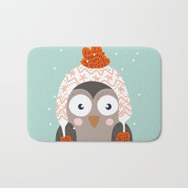 Owl Under Snow in the Christmas Time. Bath Mat