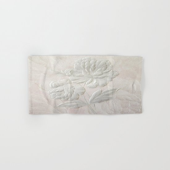 Embossed Painterly White Floral Abstract Hand & Bath Towel