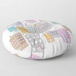 New York Brownstone Architecture - Pastel homes Floor Pillow