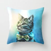 kitty Throw Pillows featuring Handsome Cat by Alice X. Zhang
