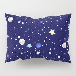 Universe pattern; Moon, Stars and Neptune Pillow Sham
