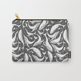 A school of whales - black and white Carry-All Pouch