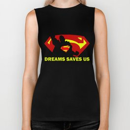 Super Man Text Biker Tank