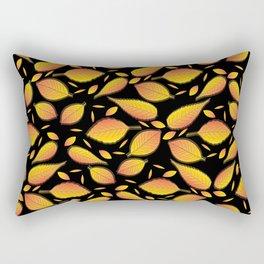 Gold Floral Pattern Rectangular Pillow