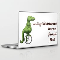 pocket fuel Laptop & iPad Skins featuring Unicyclesaurus: Burning Fossil Fuel by Nomadic Concepts/Julia Shahin Collard