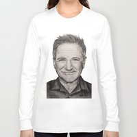robin williams Long Sleeve T-shirts featuring Robin Williams by Lindsay Hall