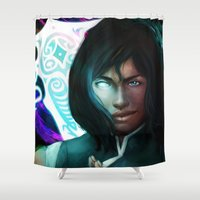 the legend of korra Shower Curtains featuring Korra by Nicole Ales Art