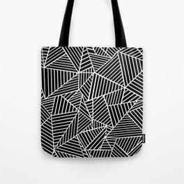 Ab Lines Black on White Tote Bag
