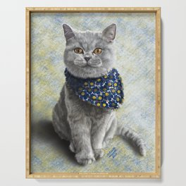 Glamour British shorthair cat Serving Tray