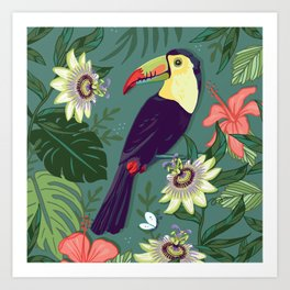 Toucan and Passion Flowers Art Print
