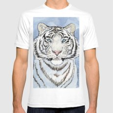 White Tiger in blue A024 Mens Fitted Tee White MEDIUM